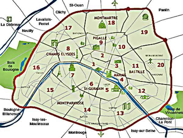 paris neighborhoods map hand drawn maps from firefighters club ...